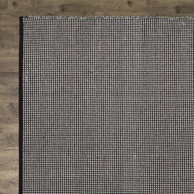 Ollie Hand-Woven Cotton Black Area Rug Rug Size: Square 6