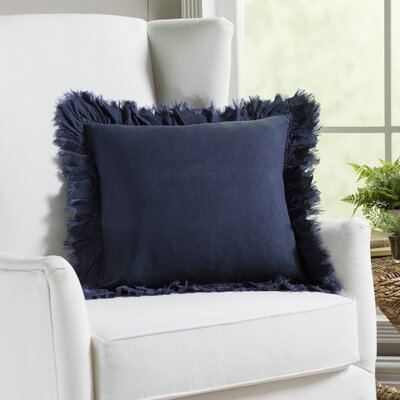 Gordonia Fringed Linen Pillow Color: Navy