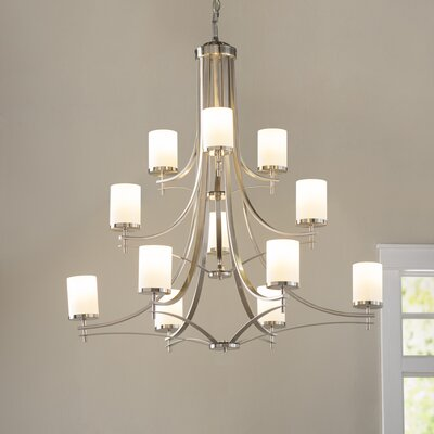 Foxall 12-Light Shaded Chandelier Finish: Satin Nickel