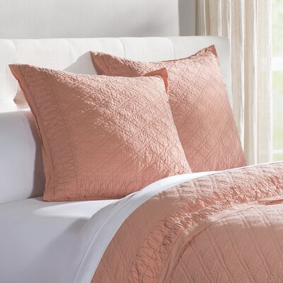 Krista Quilted Sham Color: Salmon, Size: Euro
