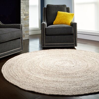 Gramercy Hand-Woven Ivory Area Rug Rug Size: Round 6