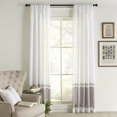 Wren Linen Single Curtain Panel Color: White/Gray