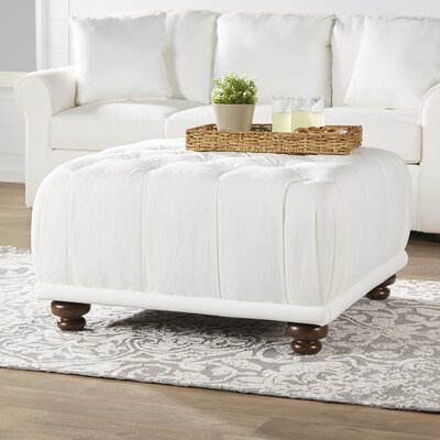 Beauvoir Square Ottoman Upholstery: Classic Bleach White