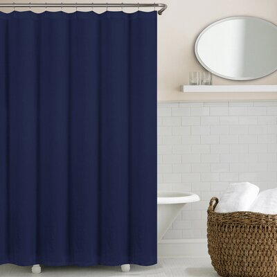 Reva Belgian Linen Shower Curtain Color: Indigo Blue