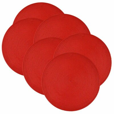 Round Braided Placemats Color: Tango Red