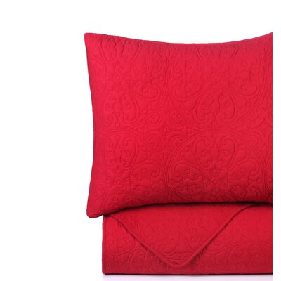 Deborah Red Quilt Set Color: Red, Size: King