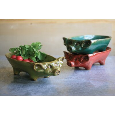 Stacking Pig Bowl Color: Red