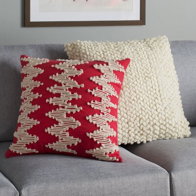 Frosted Chevron Pillow Cover Color: Red