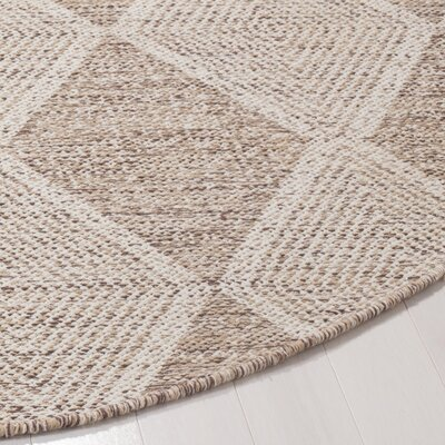 Jessup Hand-Woven Cotton Beige Area Rug Rug Size: Round 6