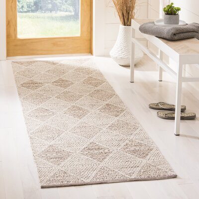 Jessup Hand-Woven Cotton Beige Area Rug Rug Size: Runner 23 x 7