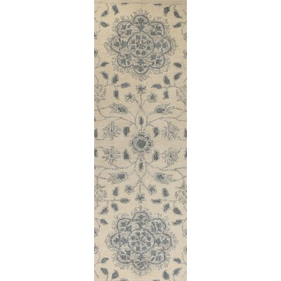 Kiara Hand-Woven Ivory Area Area Rug Size: Runner 26 x 8
