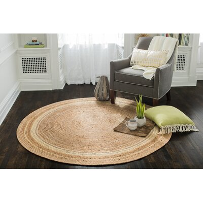 Cordell Ivory-Striped Jute Tan Area Rug Rug Size: Round 6