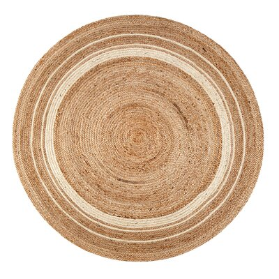Cordell Ivory-Striped Jute Tan Area Rug Rug Size: Round 8