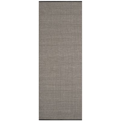 Ollie Hand-Woven Cotton Black Area Rug Rug Size: Runner 23 x 10