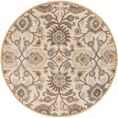 Phoebe Parchment & Teal Rug Rug Size: Round 6