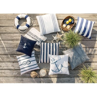Outdoor Pillow Vertical Stripe Size: 26 H x 26 W x 4 D, Color: Navy/Ivory
