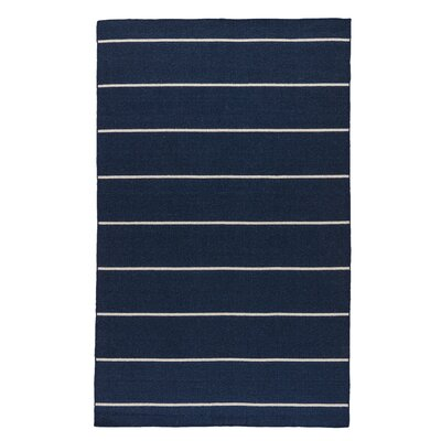 Rogan Flat-Woven Wool Blue/Ivory Area Rug Rug Size: Rectangle 4 x 6