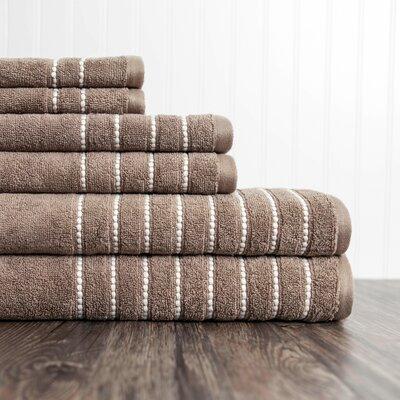 6 Piece Towel Set Color: Taupe