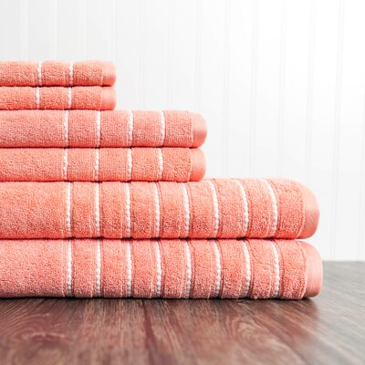 6 Piece Towel Set Color: Coral