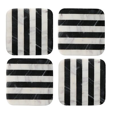 Old Hollywood Square Striped Marble Coaster NMCH004