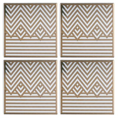 Old Hollywood Square Art Deco Chevron and Stripes Coaster NCH131