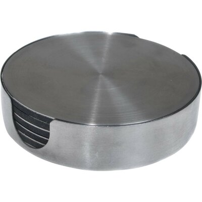 7 Piece Stainless Steel Round Coaster Set N092