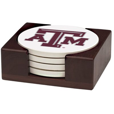 5 Piece Texas A & M University Wood Collegiate Coaster Gift Set VTXAM2-HA42