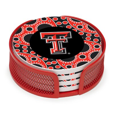 5 Piece Texas Tech University Circles Collegiate Coaster Gift Set VTXTCH2-HA24