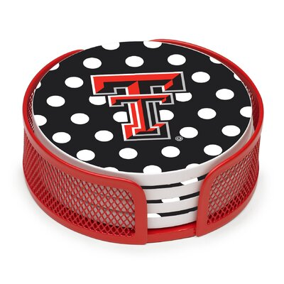 5 Piece Texas Tech University Dots Collegiate Coaster Gift Set VTXTCH3-HA24