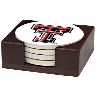 5 Piece Texas Tech University Wood Collegiate Coaster Gift Set VTXTCH-HA42