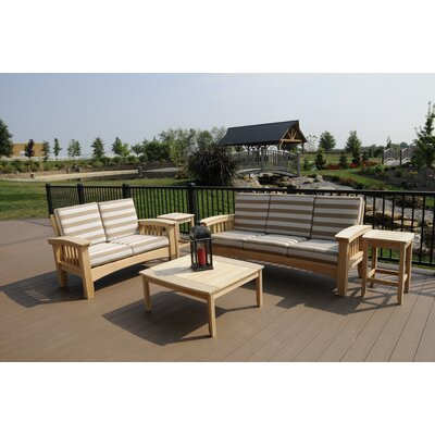 Days End 5 Piece Deep Seating Group with Cushion Finish: Natural, Fabric: Spectrum Cilantro