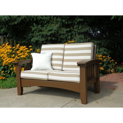 Days End Deep Seating Sofa with Cushion Finish: Chocolate Brown, Color: Foster Metallic Stripe