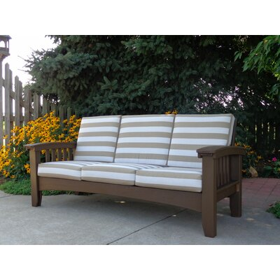 Days End Deep Seating Sofa with Cushion Finish: Chocolate Brown, Color: Spectrum Cilantro