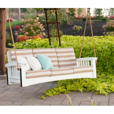 Days End Porch Swing Fabric: Dupione Bamboo, Finish: White