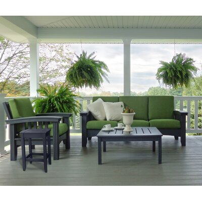 4 Piece Lounge Seating Group with Cushions Fabric: Brannon Redwood