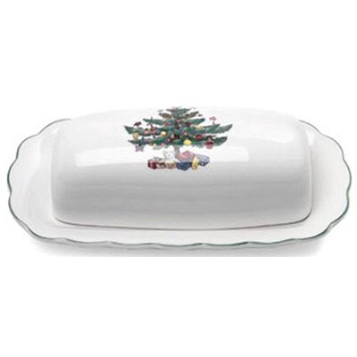 Happy Holidays Butter Dish And Lid