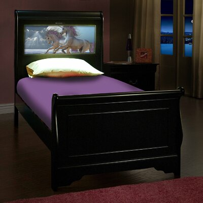 Edgewood Sleigh Bed Size: Twin, Bed Frame Color: Satin Black