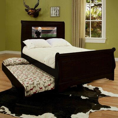 Edgewood Full/Double Sleigh Bed Upholstery: Black, Size: Full