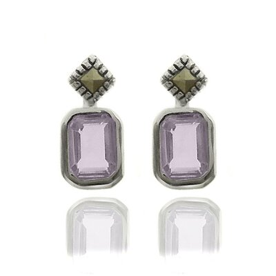 GemJolie Silver Overlay Gemstone and Marcasite SquareStud Earrings - Color: Amethyst