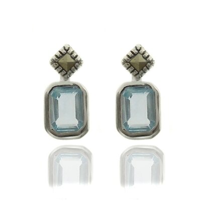 GemJolie Silver Overlay Gemstone and Marcasite SquareStud Earrings - Color: Blue Topaz