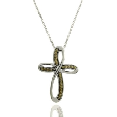 GemJolie Silver Overlay Marcasite Twisted Cross Pendant Necklace