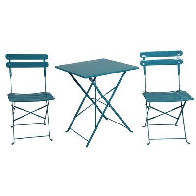 3 Piece Bistro Set Finish: Blue