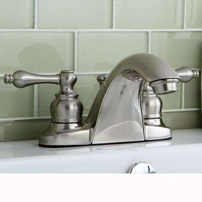 English Country Double Handle Centerset Bathroom Faucet with ABS Pop-Up Drain Finish: Satin Nickel