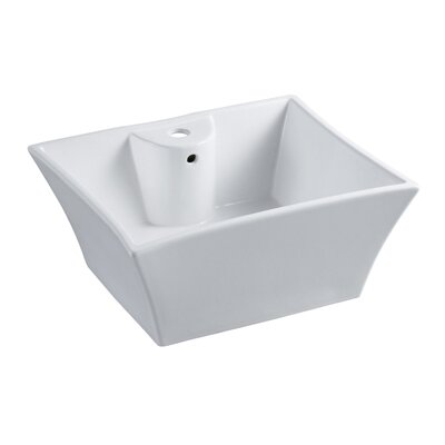 China Ceramic Rectangular Vessel Bathroom Sink with Overflow Sink Finish: White