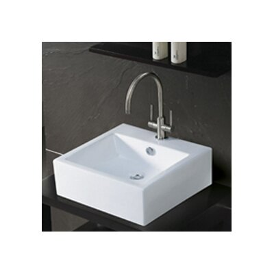 Commodore Ceramic 18 Wall Mount Bathroom Sink with Overflow Finish: White
