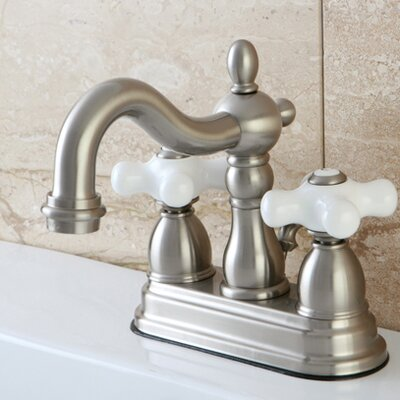 Heritage Centerset Double Handle Bathroom Faucet with Drain Assembly Finish: Satin Nickel