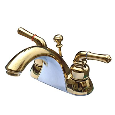 Naples Double Handle Centerset Bathroom Sink Faucet with ABS/Brass Pop-Up Drain Finish: Polished Brass