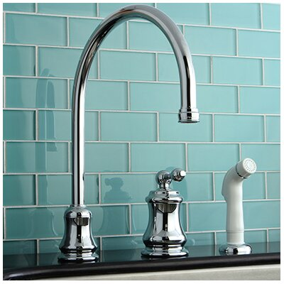Restoration Single Handle Widespread Kitchen Faucet with Non-Metallic Spray Finish: Polished Chrome