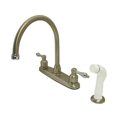 Vintage Double Handle Kitchen Faucet with Side Spray Finish: Satin Nickel/Polished Chrome