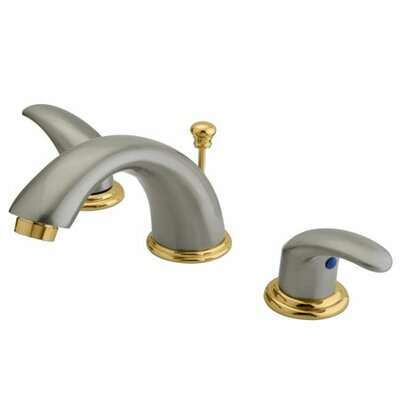 Legacy Double Handle Widespread Bathroom Faucet with Brass Pop-Up Drain Finish: Satin Nickel/Polished Brass